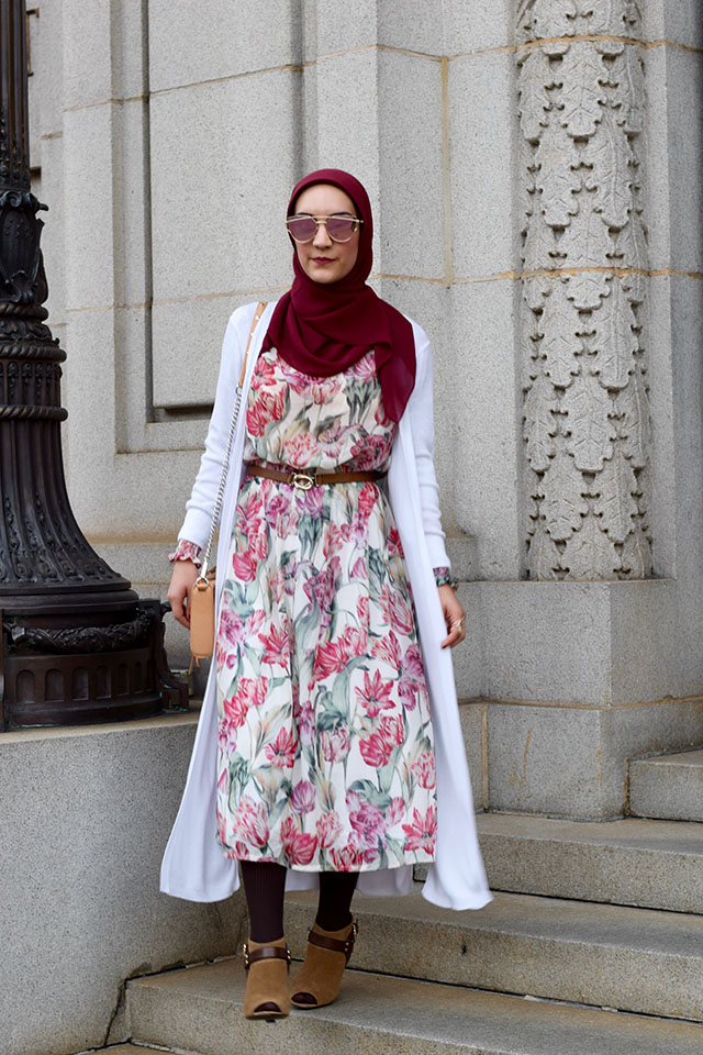 Floral Print Round Collar Long Sleeve Dress - Duster Cardigan - Peep toe bootie - Mirrored sunglasses - BaubleBar Crystal Mason Ring - Rebecca Minkoff Mini MAC - fall floral dress