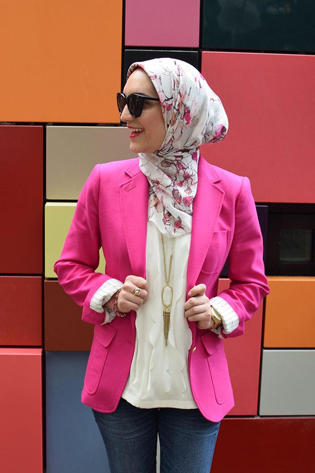 J. Crew Rhodes Blazer - J. Crew Toothpick Jeans - Pink Blazer - Kendra Scott Necklace - Houston - Art Box - Discovery Green Park - Haute Hijab Scarf - Modest Fashion - Fashion Blogger