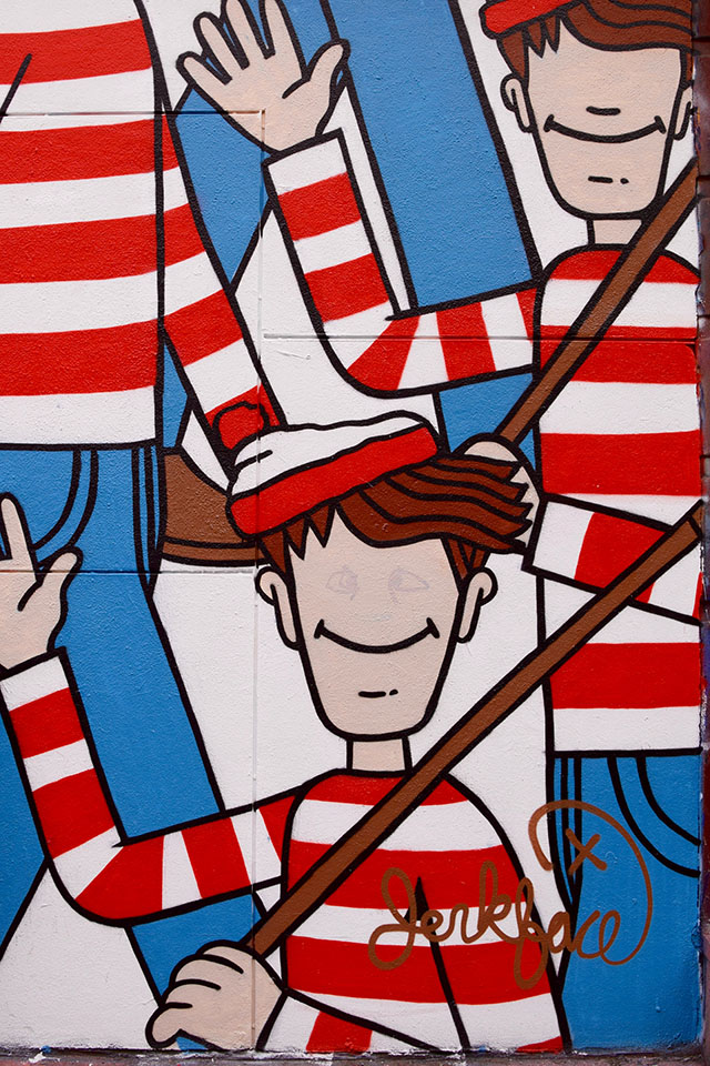 NYC Street Art- Where's Waldo-Incarcerated Jerkface-L'asso Pizza-SoHo-Nolita street art-travel blog