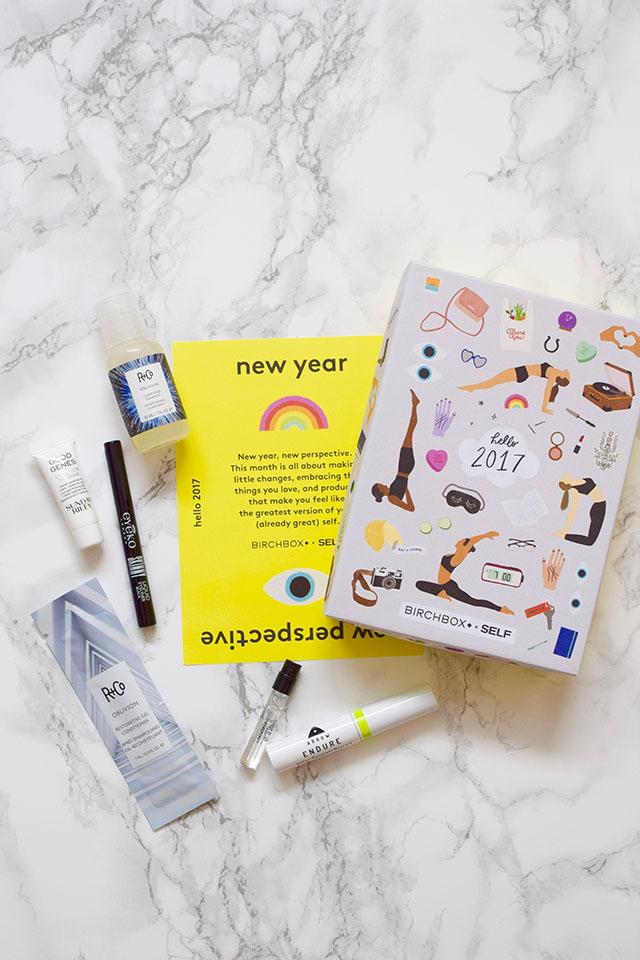 January 2017 Birchbox-R+Co shampoo & conditioner-ARROW water resistant mascara-Eyeko liquid eyeliner-Sunday Riley Good Genes lactic acid treatment-Beauty Blog