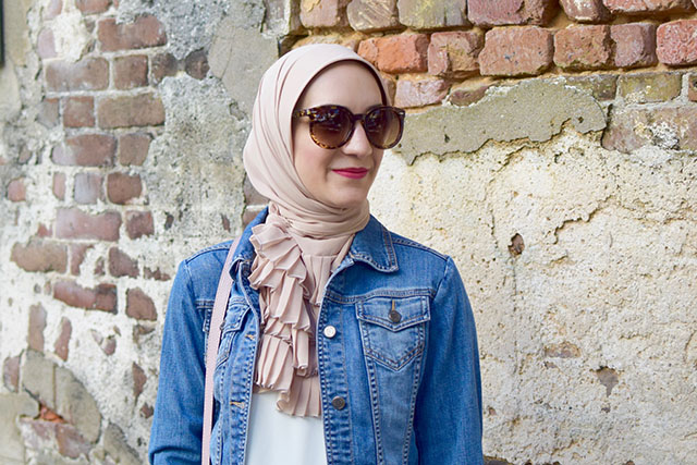 Pink Pants, Kate Spade cobble hill milieu, Denim jacket, M. Gemi Brezza flats, Vela Scarf, MAC Flat Out Fabulous Lipstick, Hijabi Fashion, Fashion Blogger