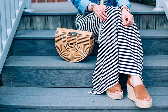 Striped Dress-Long-sleeve striped dress-cult gaia ark bag-nautical outfit-hijabi-fells point baltimore
