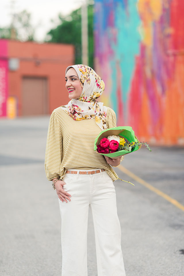 Anthropolgie-Cutout Cropped Jeans-Sal Boatneck Top-Haute Hijab-Baltimore-Spring Style-Hijab-White Denim-Fashion Blogger