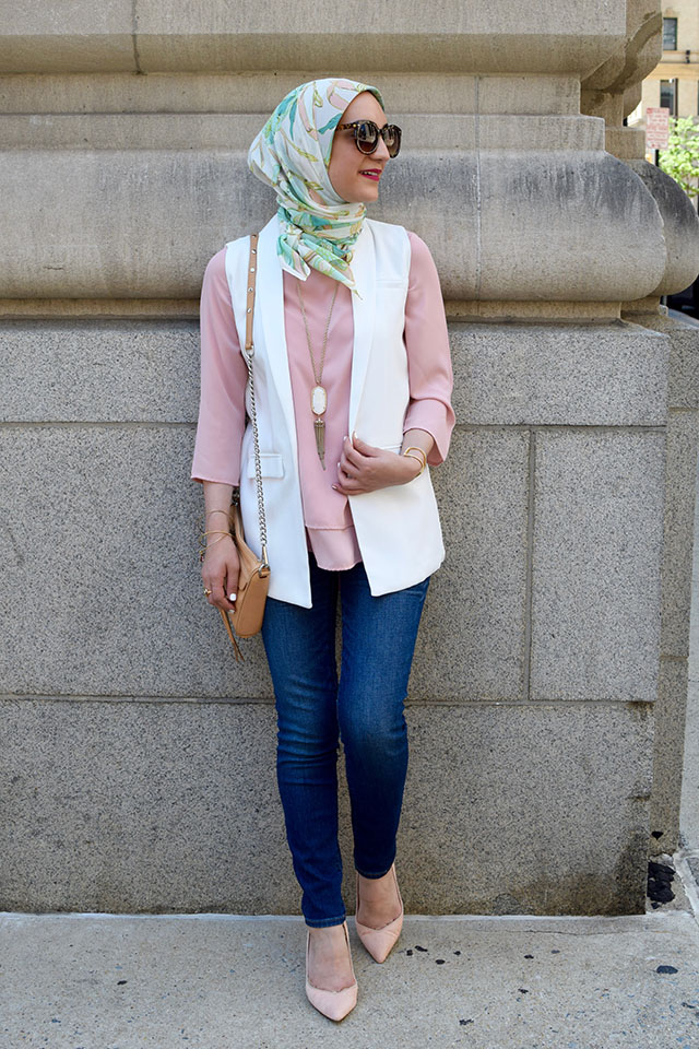 Sleeveless Open Front Blazer-Pink Blouse-Banan Republic Pink Hells-Hijabi Fashion-Rebecca Minkoff Mini MAC Bag-Kendra Scot Necklace