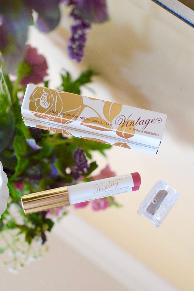 VINTAGE by Jessica Liebesking-Velvet Lip Crayon-Beauty Blog-Vintage Rose Lip Crayon