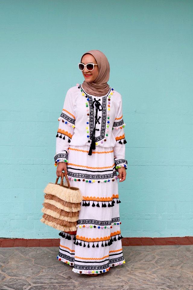 Summer Beach Outfit-DODO BAR OR Dress-Dominican Republic-Hijab-Modest Beach Fashion-Kayu Piñata Tote