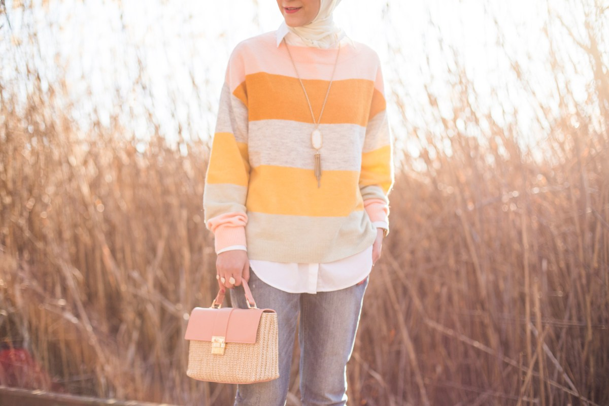 Pastel Stripe Sweater, Pink-Heels, Hijabi Blogger, A Day In The Lalz