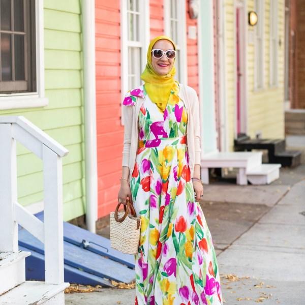 Tulip Print Maxi Dress