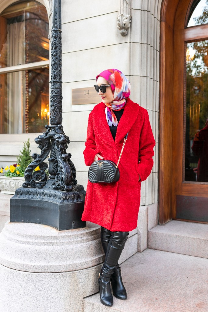Red Winter Coat-Faux Shearling Shawl Collar Coat-Rachel Parcell Nordstrom-Leather Leggings-Hijab-Lalz