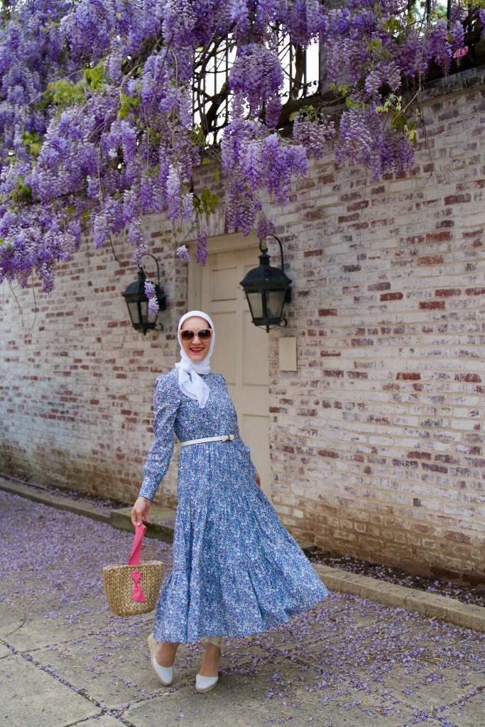 J.Crew Shirtdress-Liberty London-Wisteria in DC-Lalz-Haute HIjab=Pamela Munson Bucket Bag