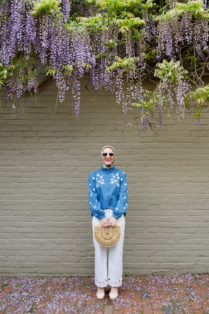 Sezane Lamie Shirt-Wisteria in DC-Georgetown-Haue Hijab-Cult Gaia Ark Bag-Modest Fashion