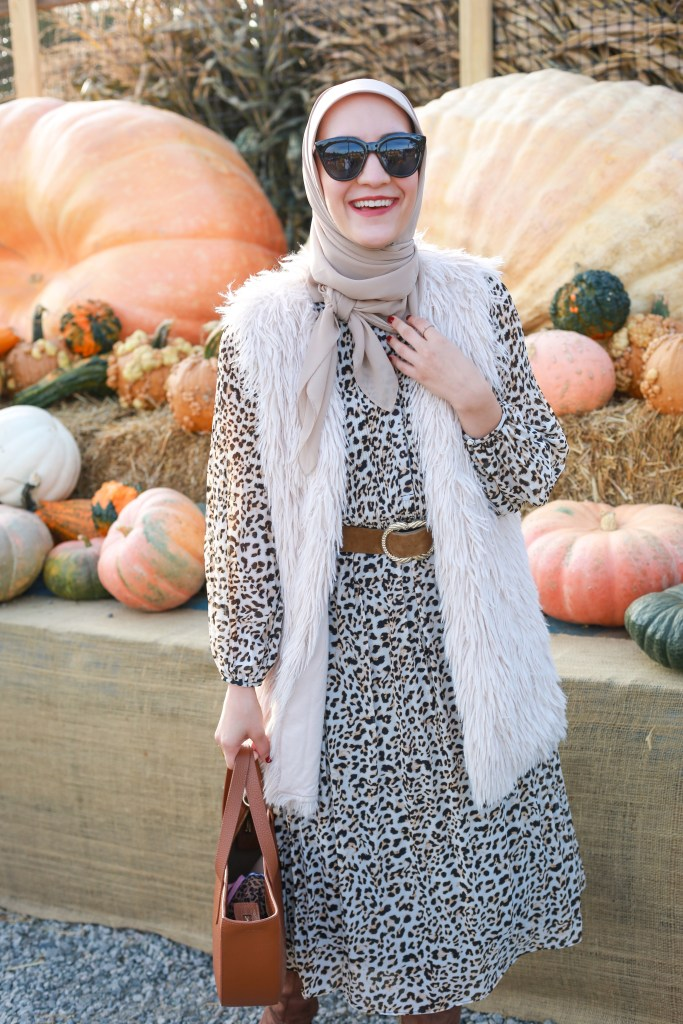 Cheetah-Print-Pleated-Midi-Dress-Haute-Hijab-Fall-Style-Modest-Fashion