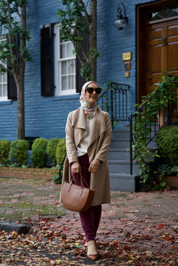 Open-Front-Coat-Chicwish-Sarah-Flint-Natalie-Flats-Cuyana-Georgetown-DC-Fall-Fashion-Hijab