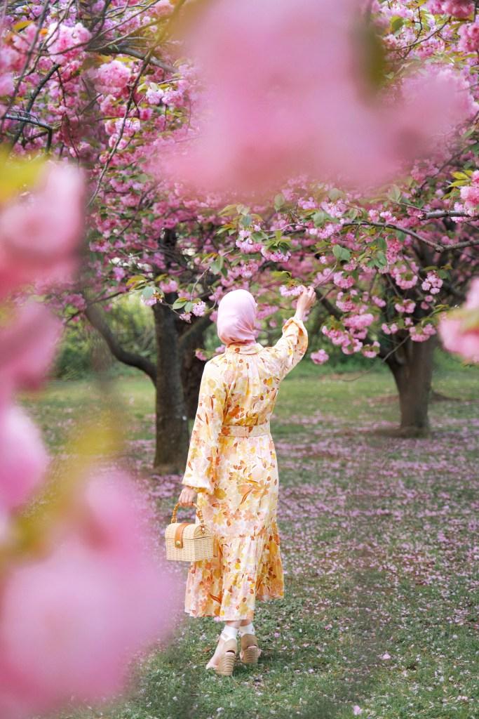 Washington DC-Kwanzan cherry blossoms-Midi Dress-Modest Fashion-Hijab