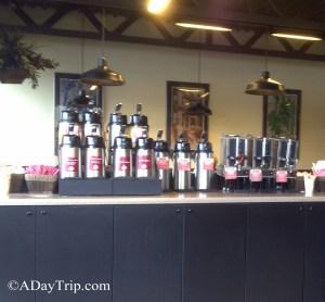 The big coffee bar at Back Bay Bagel Brockton