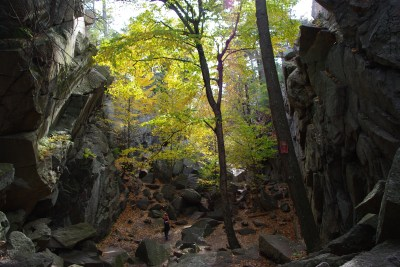 Caves and ravines at Purgatory Chasm Sutton MA
