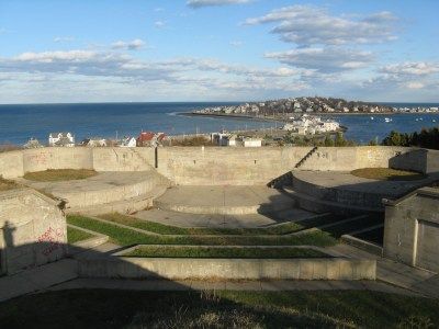The scenic view from Fort Revere in Hull, MA