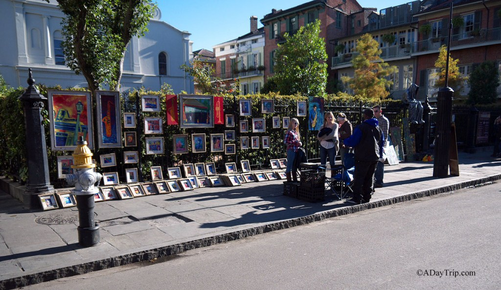 Art vendors near Jackson Square