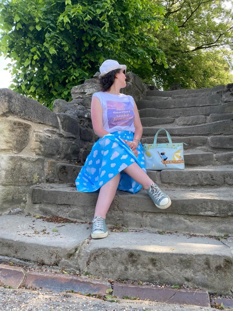 pontefract castle ~ LJ on castle steps