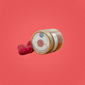 Twisted Raspberry Infused Honey with Fresh Raspberries
