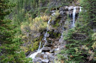 Waterfall on the Lower & Upper Rowe Lake trail in Waterton Lakes National Park.