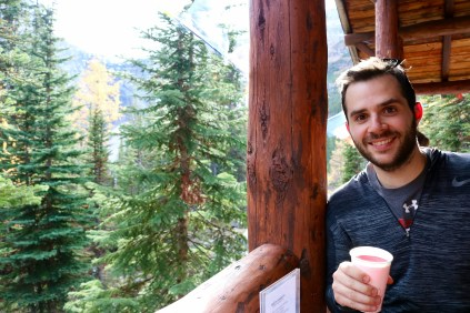 Adam enjoying his raspberryade at the Plain of Six Glaciers Tea House in Banff National Park.
