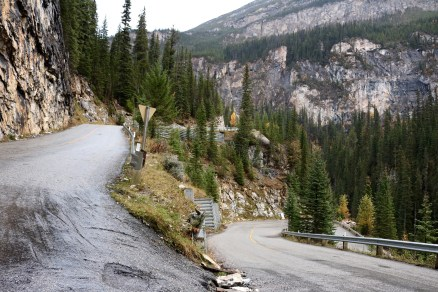 View of the switchbacks on the steep and winding road towards Takakkaw Falls in Yoho National Park, BC.