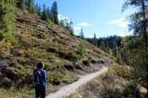 Amanda hiking on the Maligne Canyon trail in Jasper National Park.