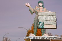 The Trapper welcome sign in The Pas, Manitoba.