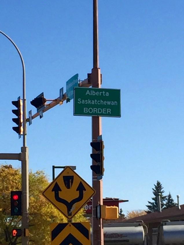 Passing the Alberta/Saskatchewan border in Lloyminster on our way to Saskatoon.