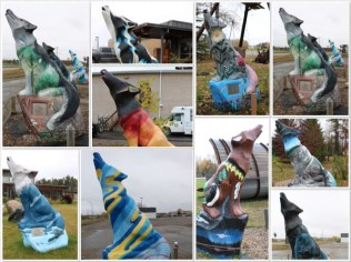 Just a few of the some 46ish Spirit Way Wolves - found in and around the city of Thompson; painted by various sponsors.