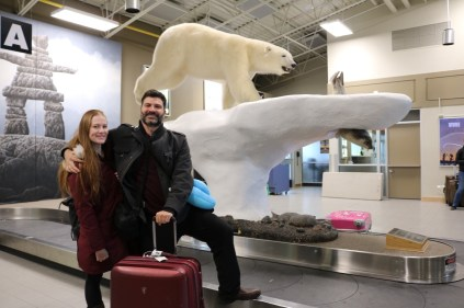 Bryan and Nicole arrive at the airport in Yellowknife!