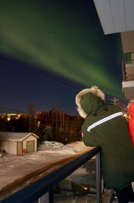 Enjoying the Aurora Borealis from the convenience of our balcony