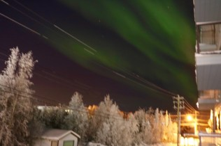 This is a view of the aurora from the balcony of our apartment. Some nights it was bright enough to see despite the light pollution of the city centre!