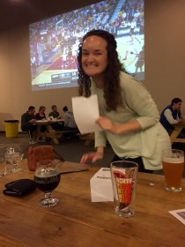 Winning prizes at Trivia Night at Community Beer Co. in Dallas Texas