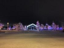 Christmas lights at Somba K'e Civic Plaza near City Hall in Yellowknife
