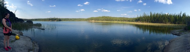 "Phew! Made it to ""Beaver Lake"" (otherwise unnamed lake?)"