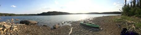 "Our ""Beaver Lake"" rock beach campsite"