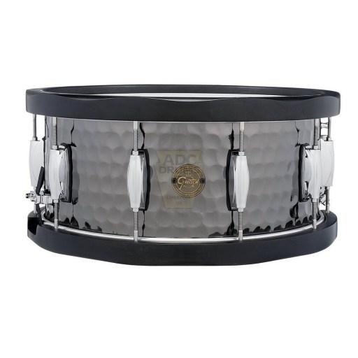 Gretsch Full Range Hammered Black Steel Wood Hoop Snare Drum 1