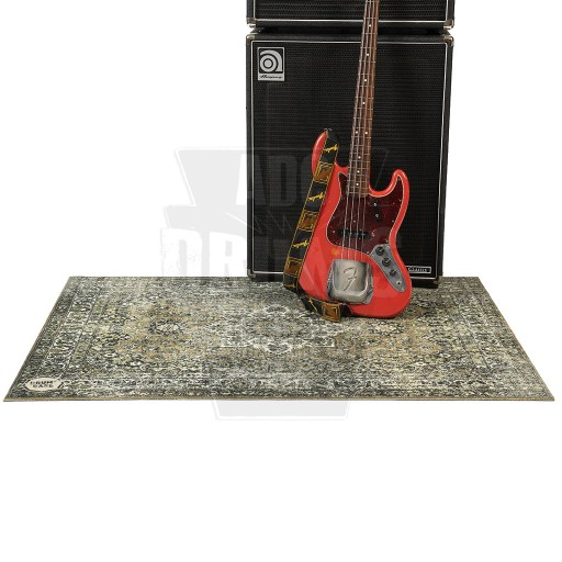 DRUMnBASE_Vintage_Persian_Stage_Mat-Green with Bass guitar + amp