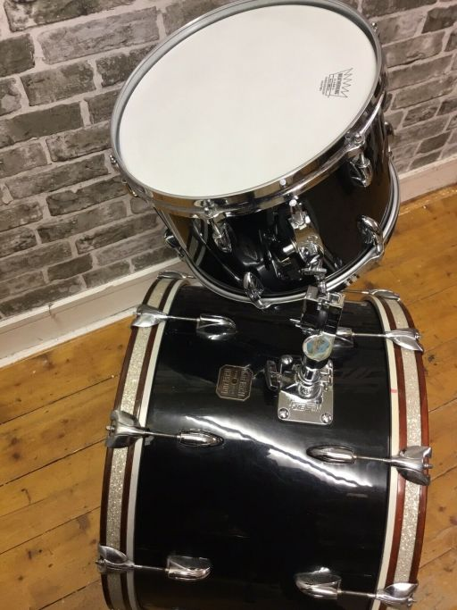 Vintage Gretsch Drums, 1980s USA Shell-Pack, Nitron Black 6