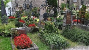 Graves, gardens and crosses at St. Peter's Cemetery