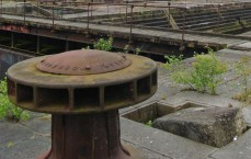 Bollard and walkway at the Govan docks