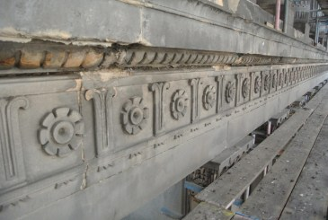 Detail of the exterior of Egyptian Halls