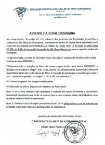 Assembleia Geral Ordinária - 9 de julho de 2021 - ADCVNM