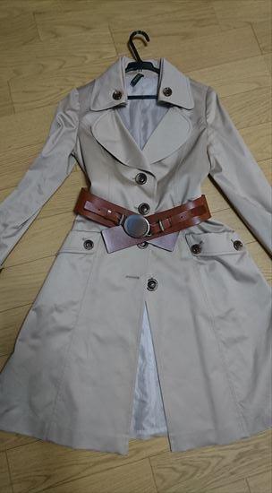 トレンチコートの異素材ベルト2 太め革ベルト