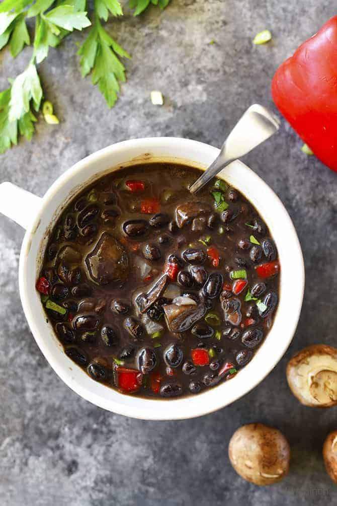 Red Pepper Mushroom Black Bean Soup Recipe Add A Pinch