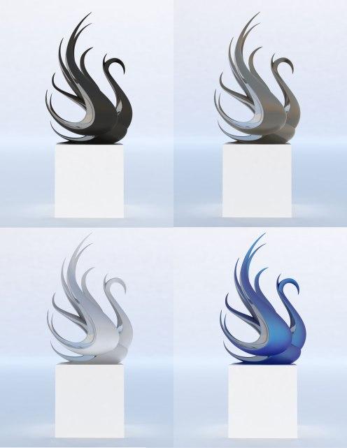 modern-swan-statue-bronze-steel