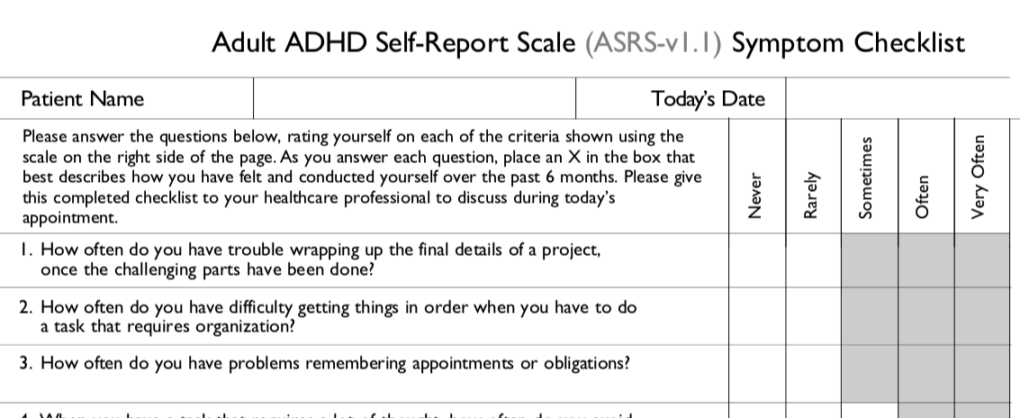 Adult ADHD Screening Test for Symptoms of ADHD by Harvard ...