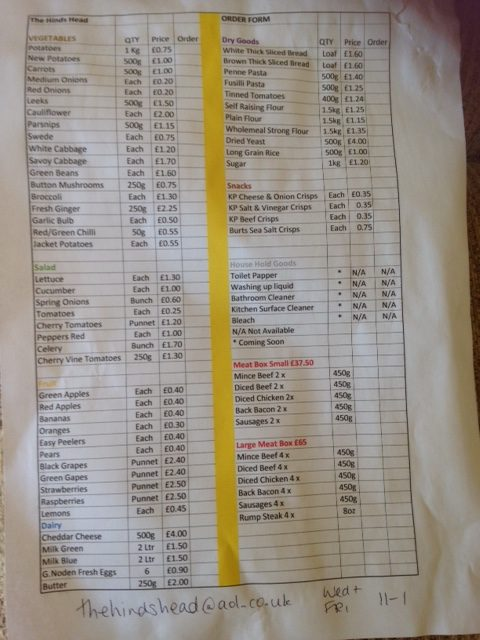 Price List for Hinds Head fruit and veg stall
